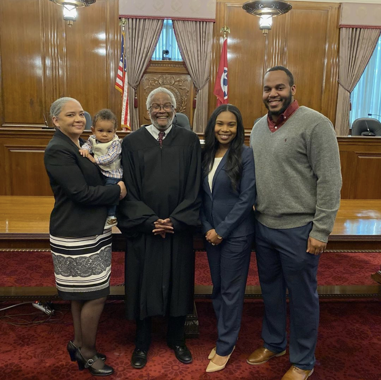 Lamar and family at attorney admission ceremony.