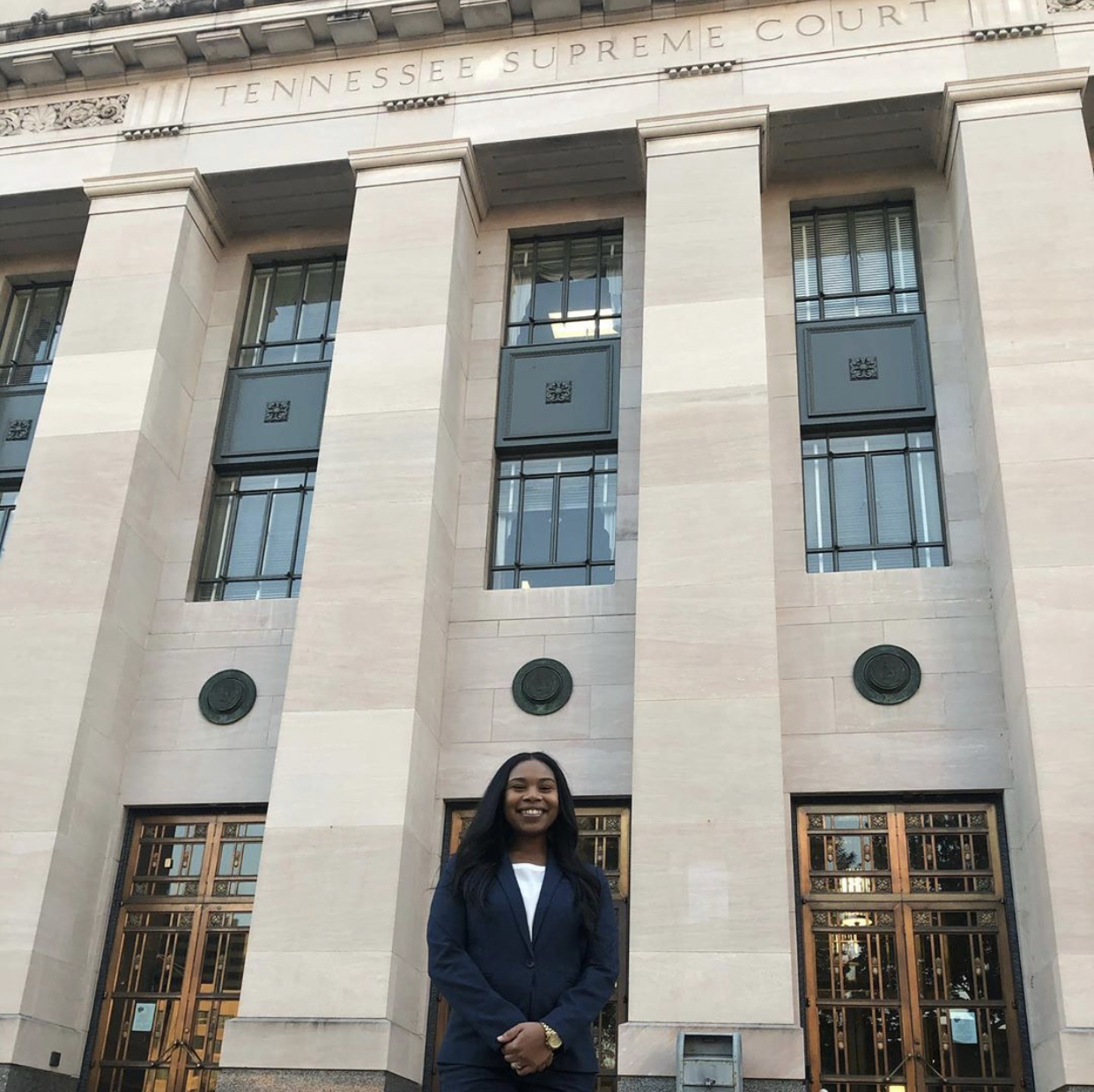 Juliana Lamar in front of Tennessee Supreme Court.