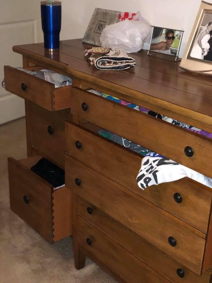 dresser drawers open