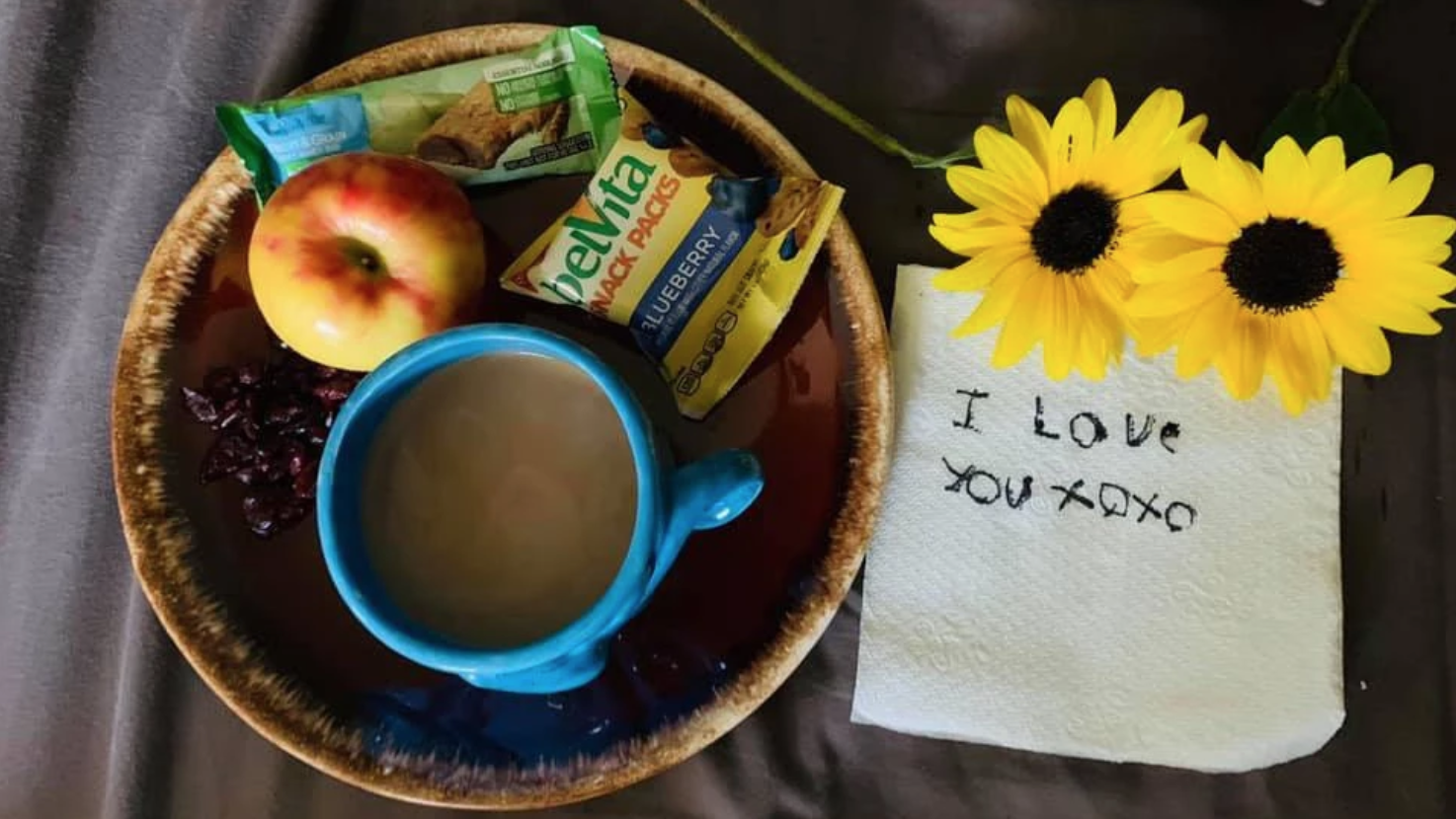 I love you note by breakfast