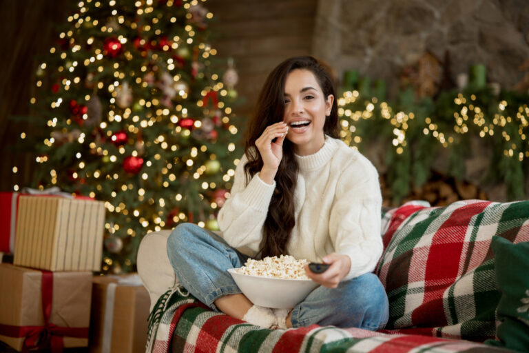 Woman watching Christmas movie