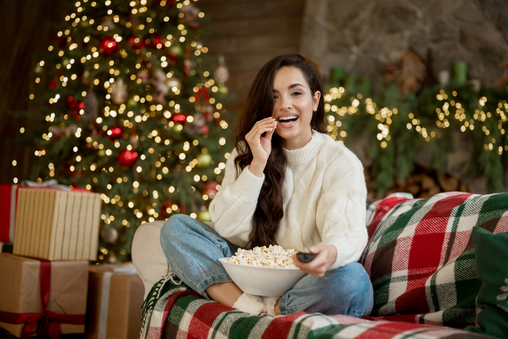 Woman watching Christmas movie