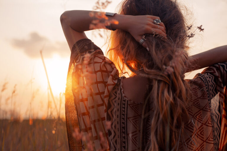 Woman in sunset