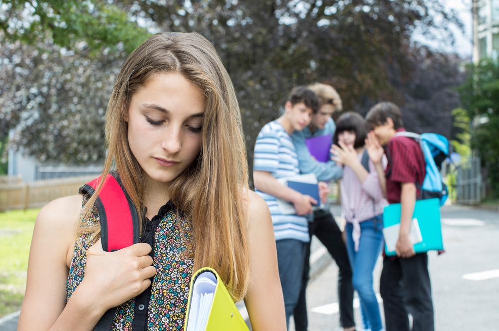 Teen sad in high school