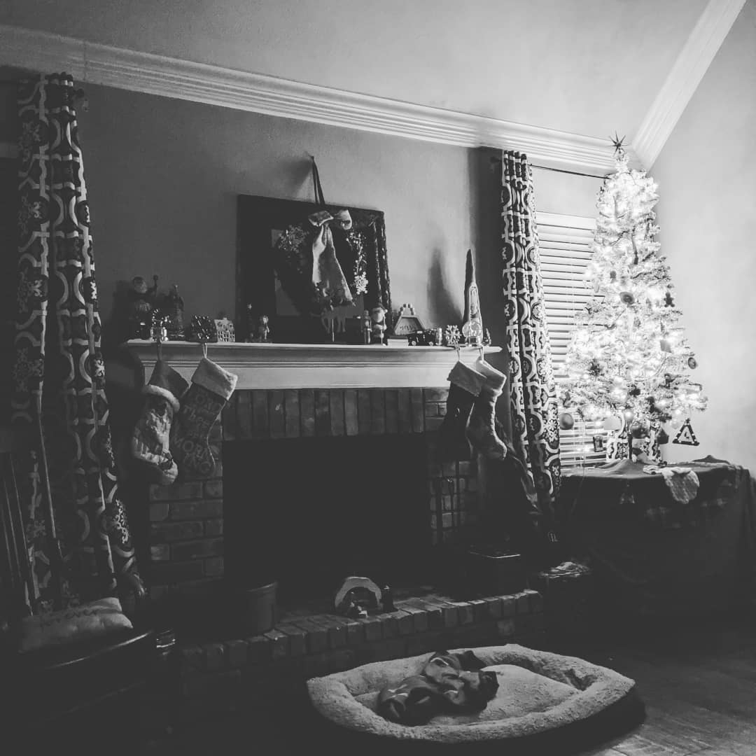 Black and white photo of Christmas hearth
