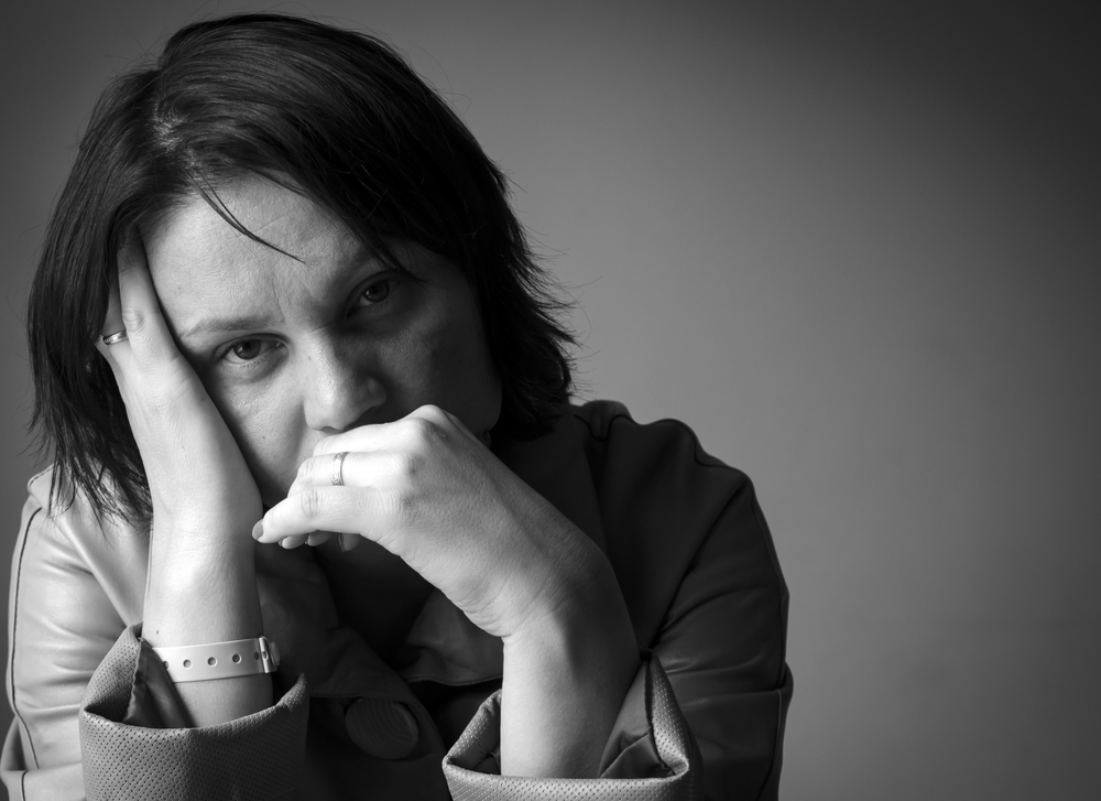 Sad woman black and white portrait