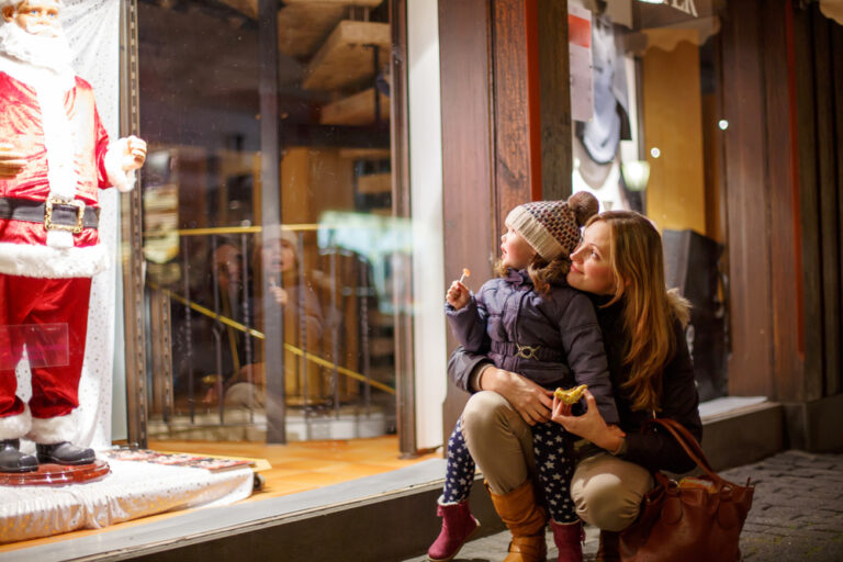 Mother and child looking in shop window