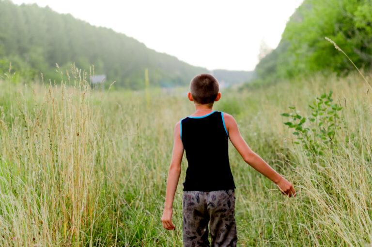 Little boy walking in field
