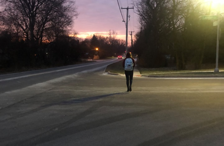 Teen walking away