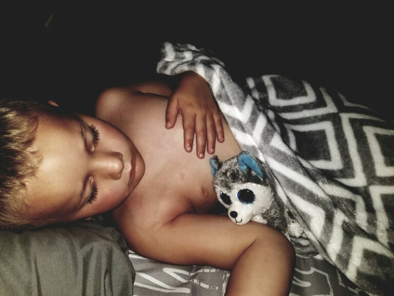 Sleeping toddler in a bed with blanket and stuffed toy