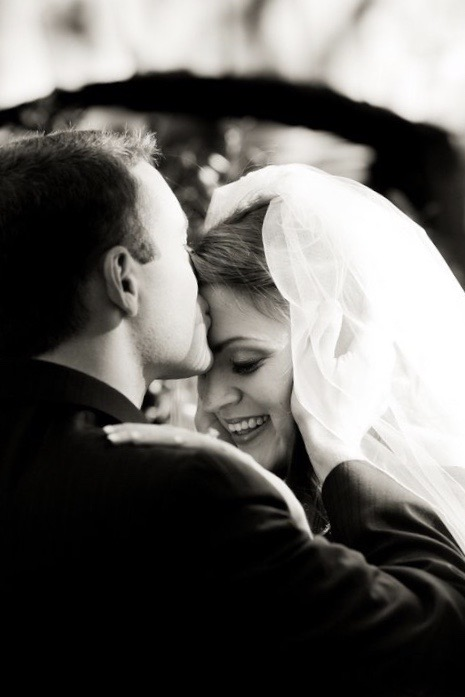 bride and groom, black-and-white photo