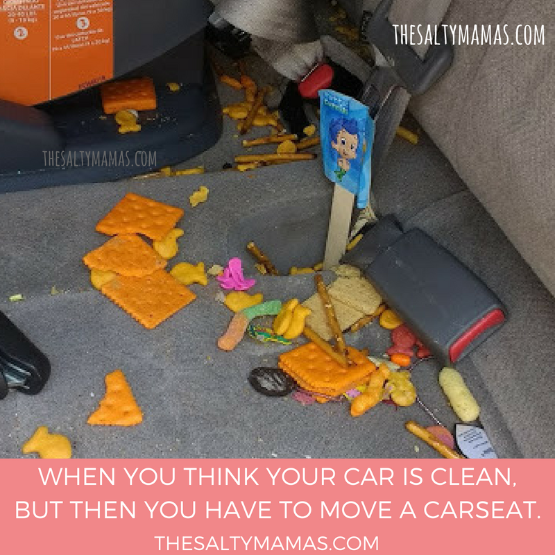 messy seat in a car, color photo