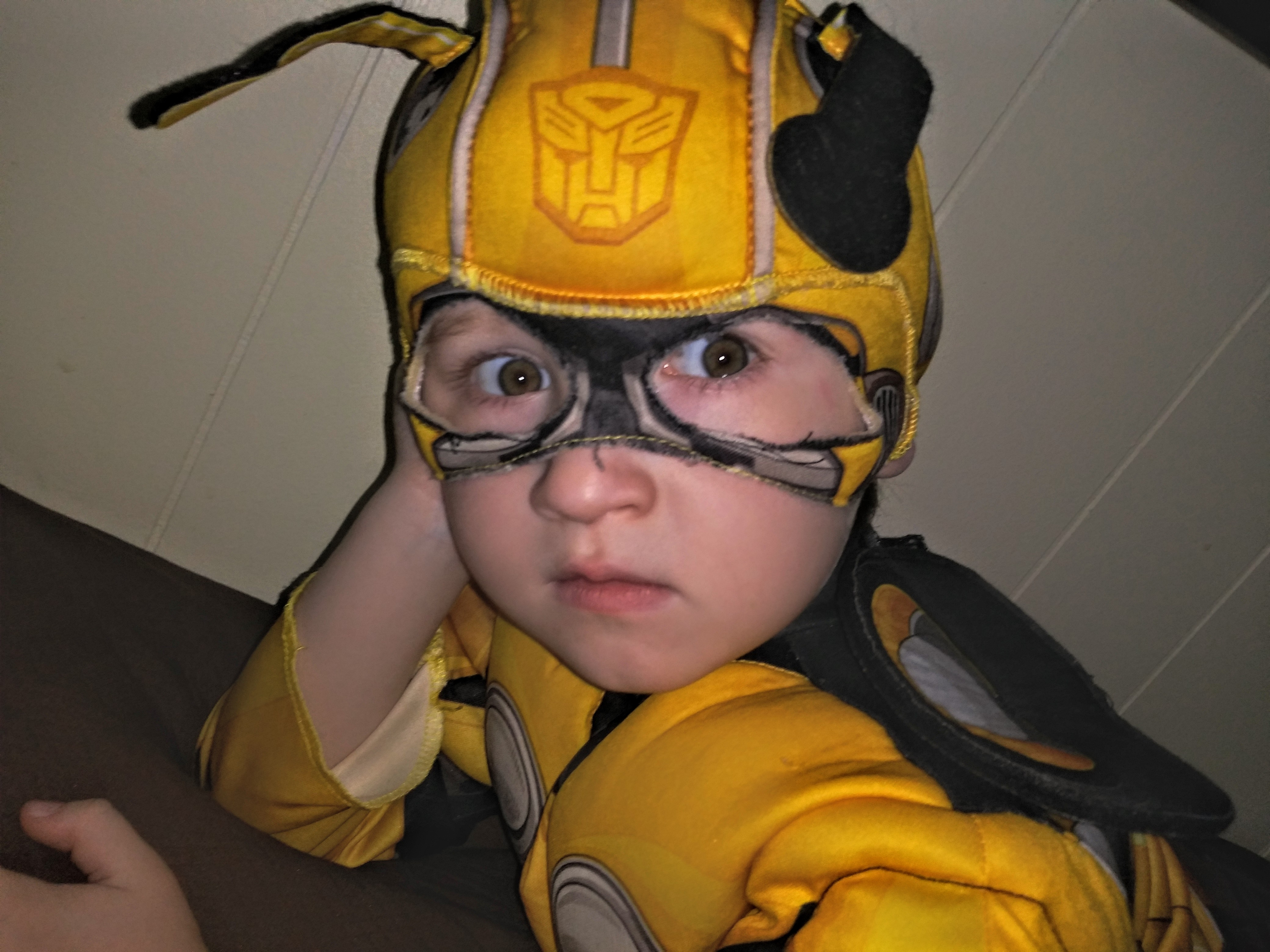 Little boy in Halloween costume, color photo