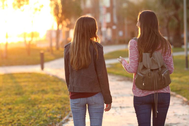 teen girls walking