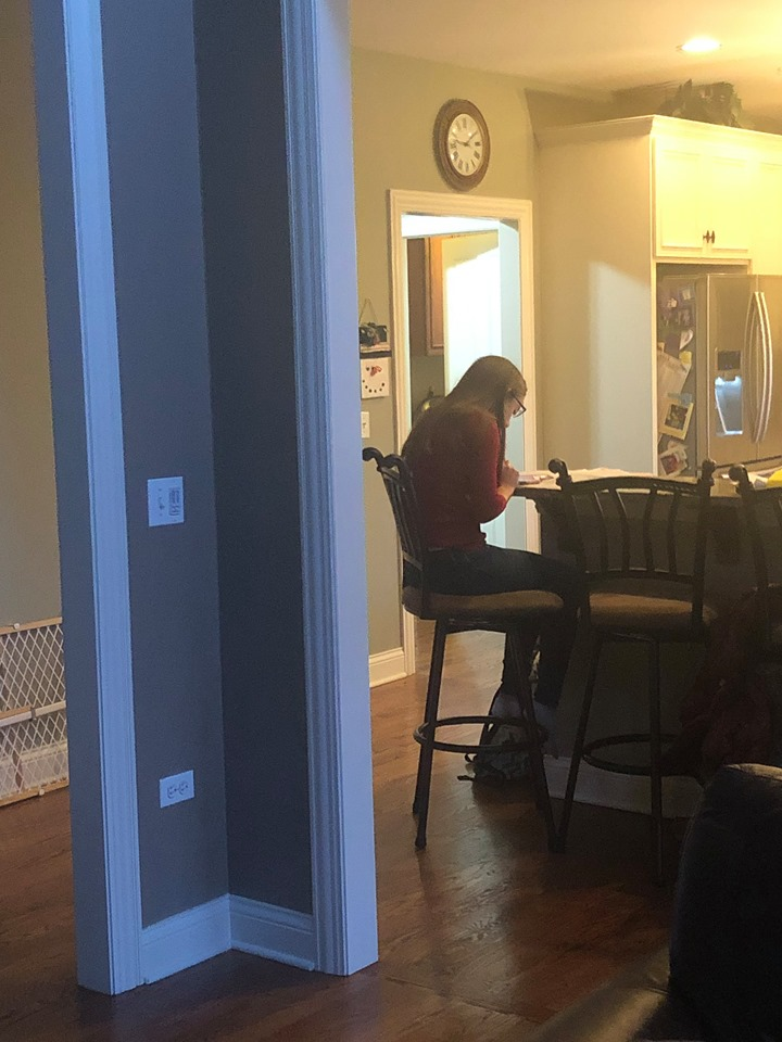 Teenager studying at the kitchen table