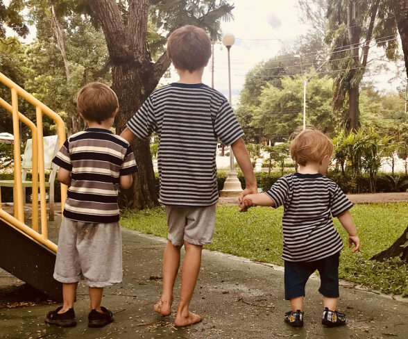Three brothers holding hands