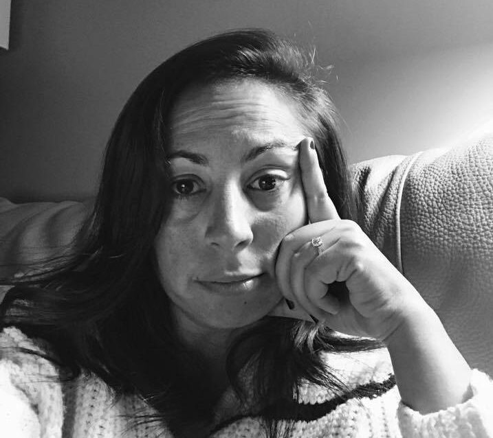 Black and white photo of woman selfie