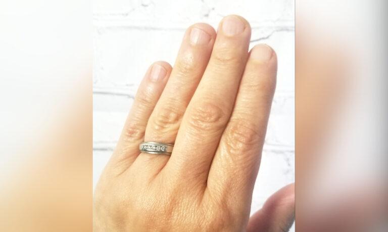 Wedding ring on finger