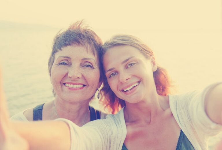 Adult daughter and mother selfie