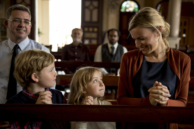Family in church pew