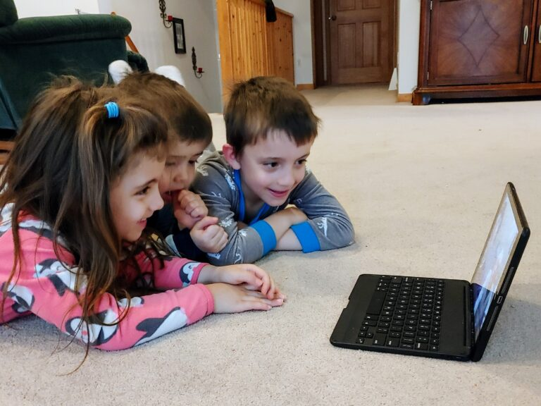 Kids doing video call from home