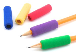 colorful pencil grips on sharpened pencils