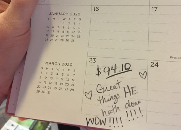 Writing on calendar date