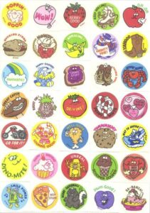 Sheet of scratch and sniff stickers