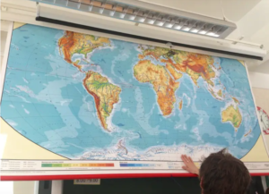 Roll down world map