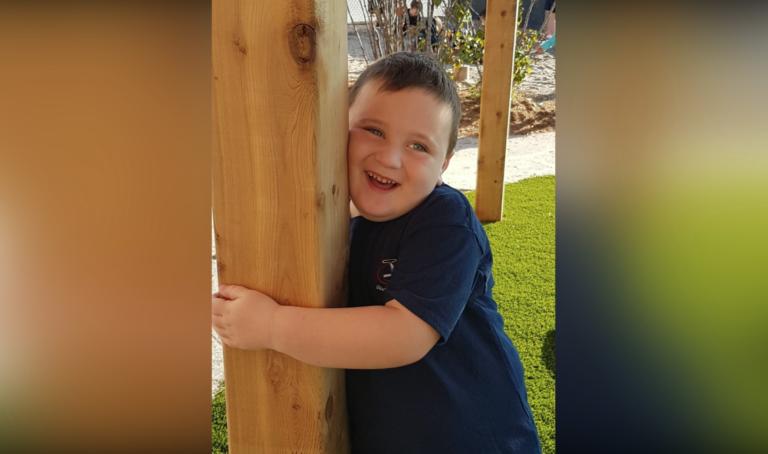 Happy boy outside