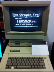 Old Apple II computer with Oregon Trail game