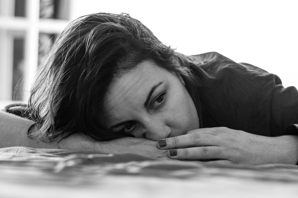 Tired woman black and white photo