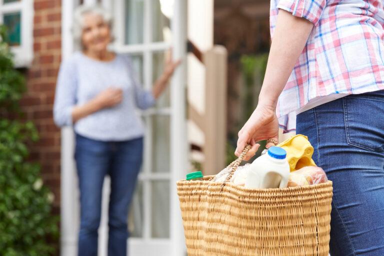Bringing elderly neighbor food