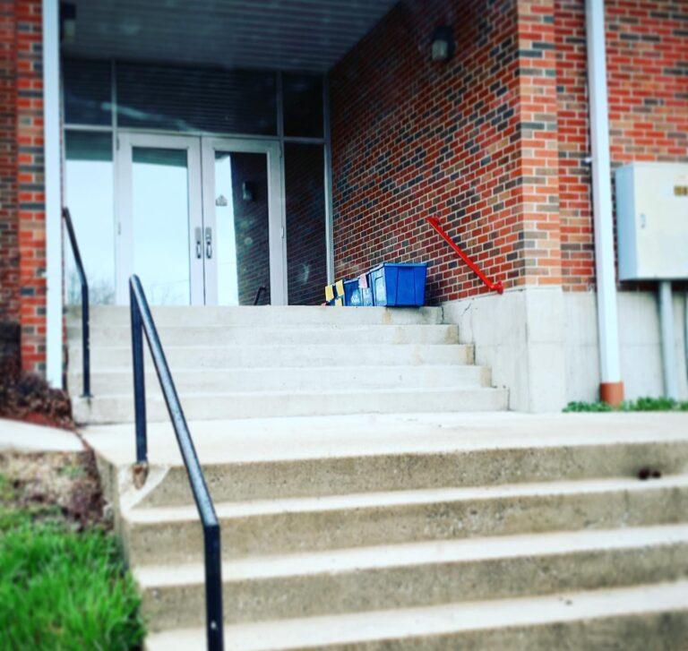 School steps empty
