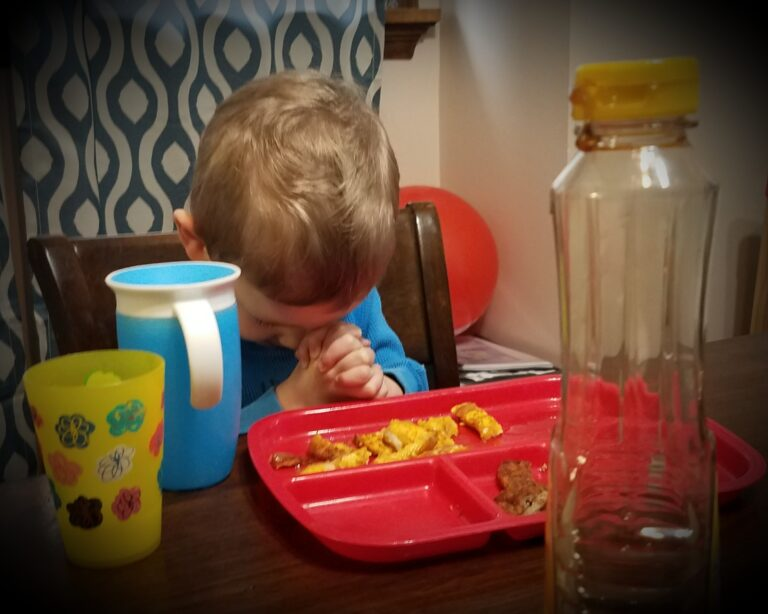 Little boy with hands folded at dinner table, color photo