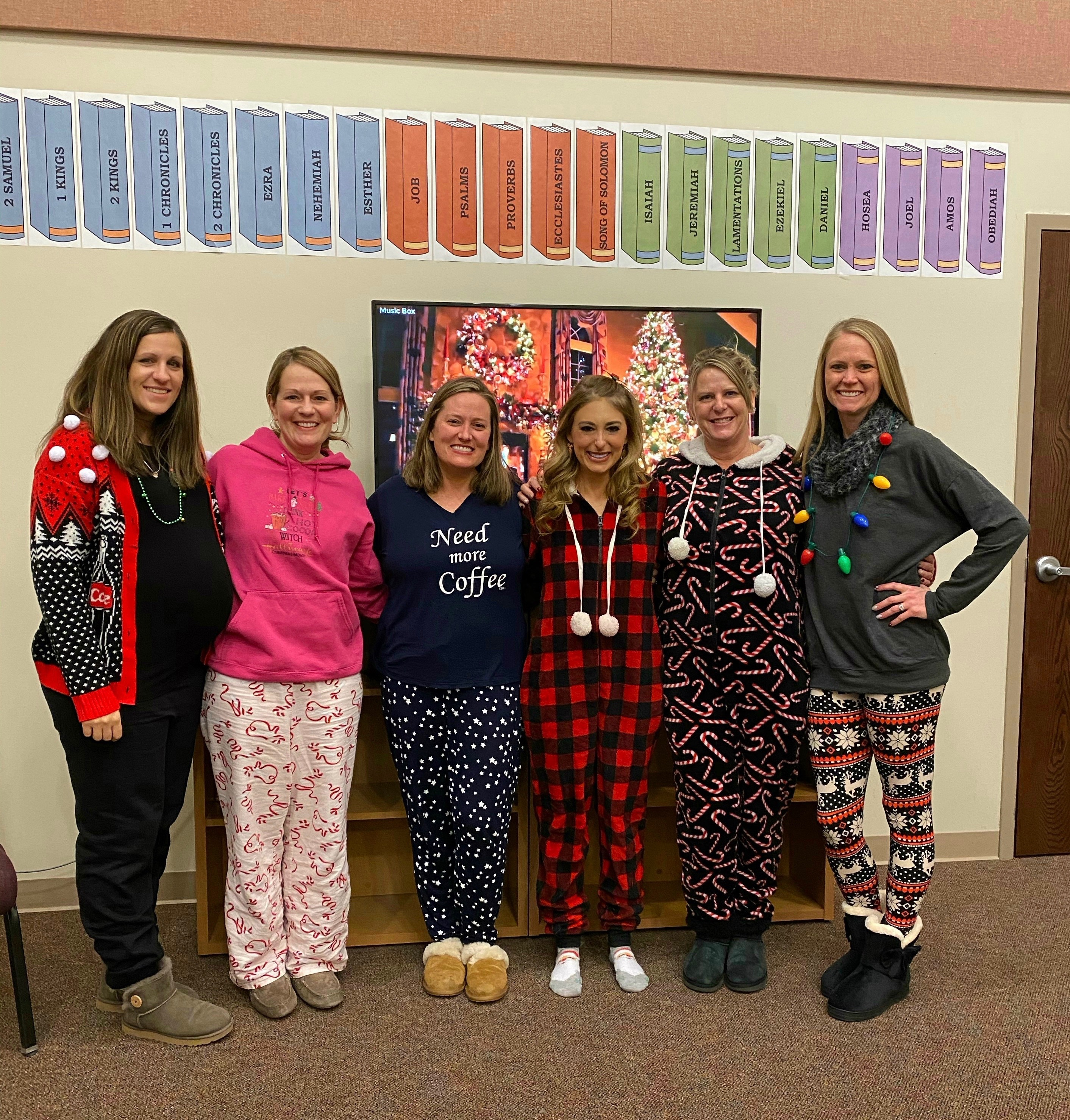 Group of women dressed in winter pajamas, color photo