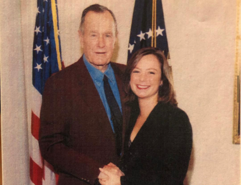 Woman with President George H.W. Bush