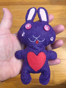 stuffed purple bunny