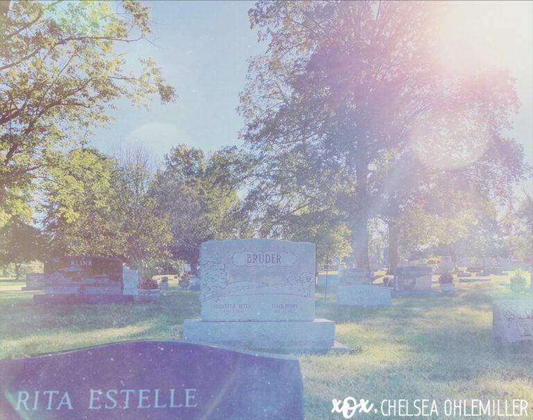 Gravestone in cemetery, color photo