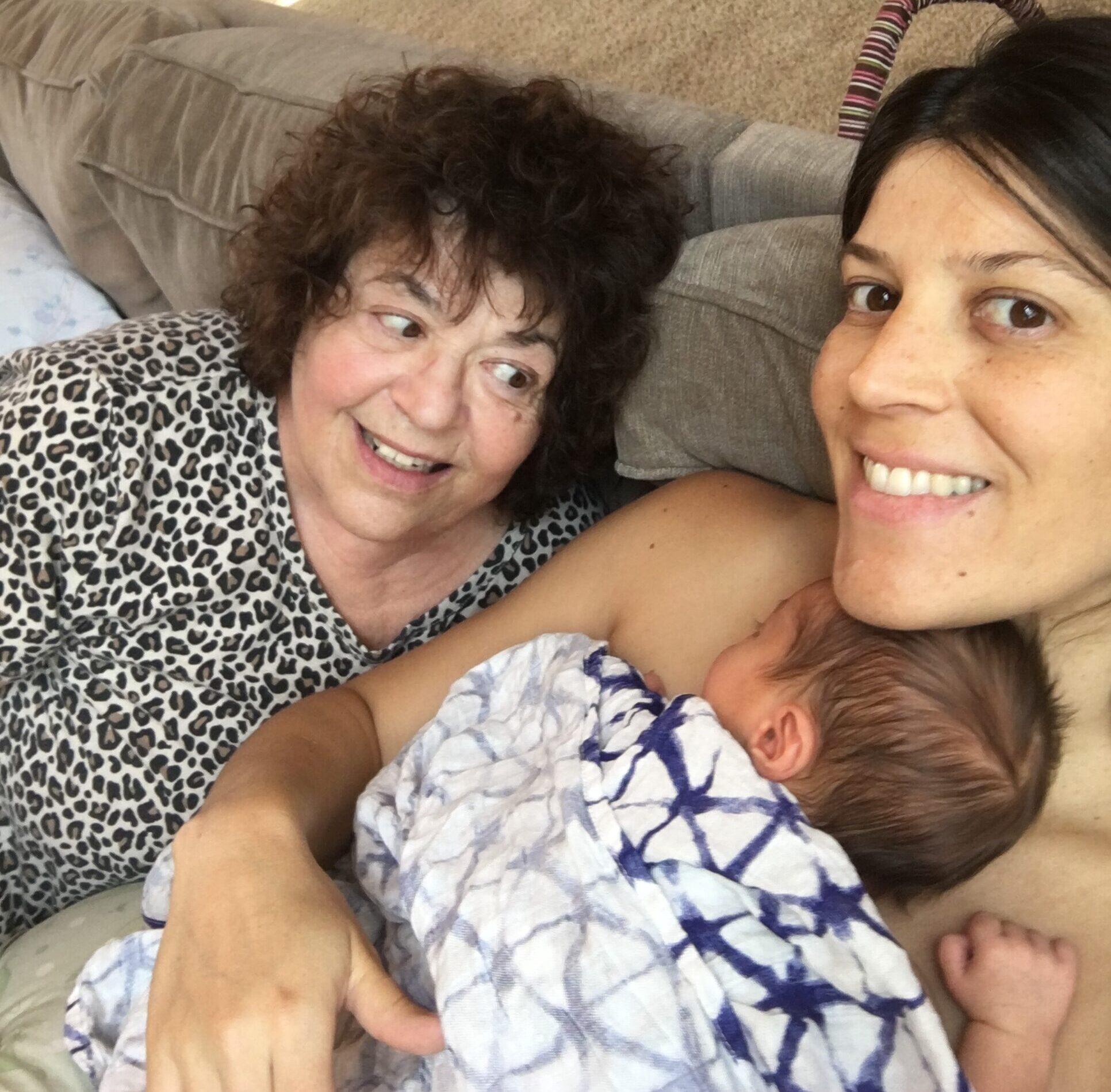 Grandma, mom, infant, color photo