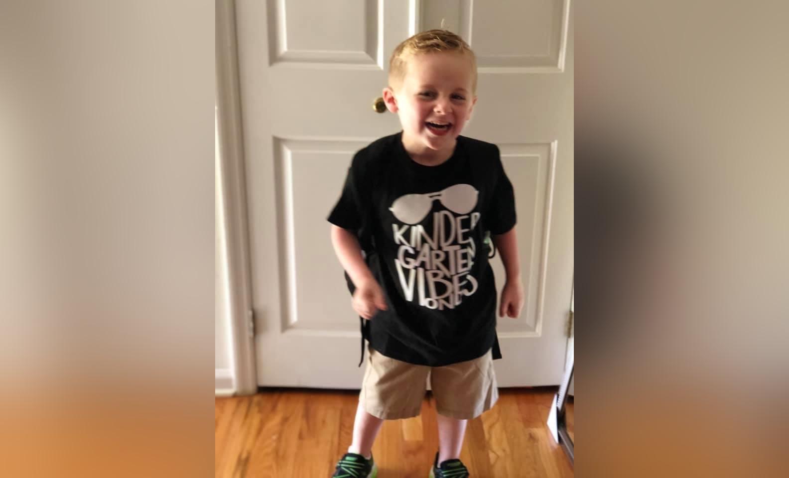 Kindergarten boy smiling