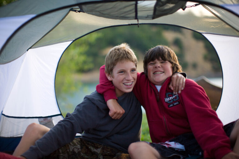 Brothers in tent