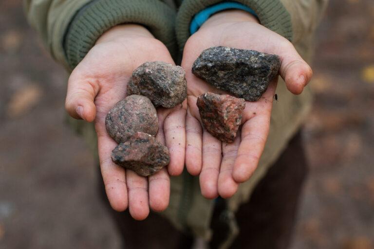 Hand holding rocks