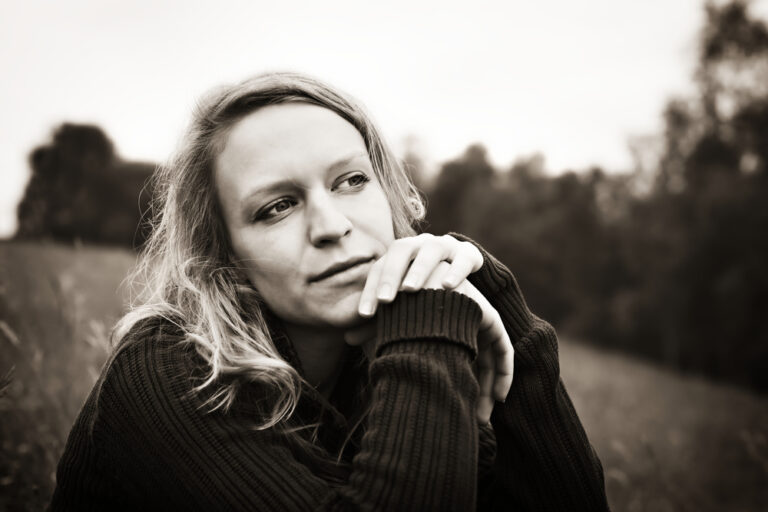 Thoughtful woman black and white photo