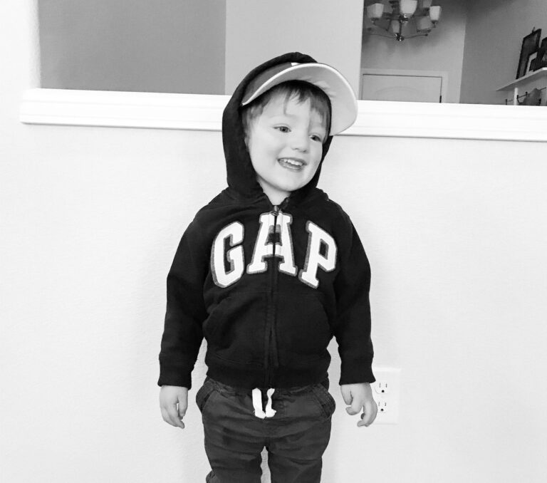 Little boy black and white photo