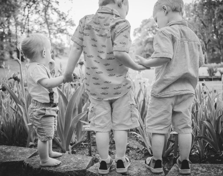 Little boys black and white photo