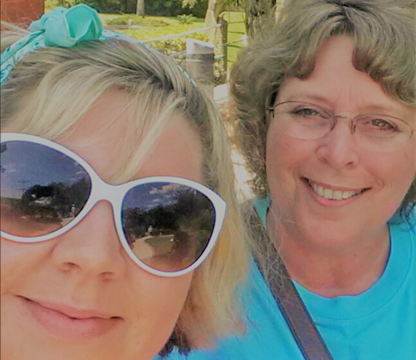 Selfie of woman and her mother, color photo