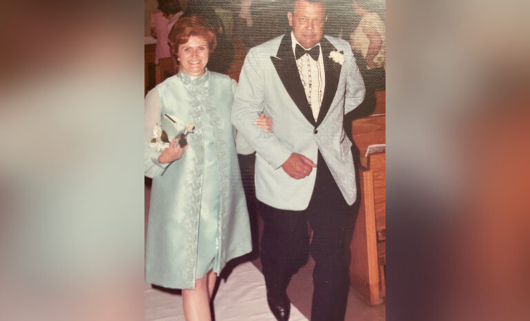 Old photo of man and woman at wedding