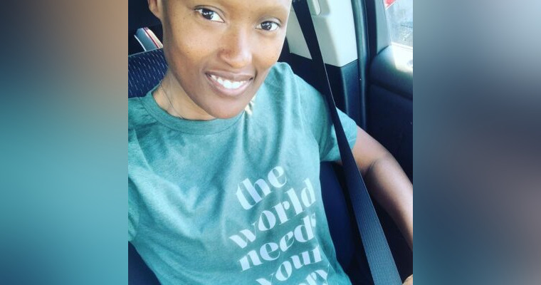 Selfie of woman in green shirt