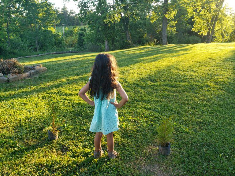 Little girl standing in sunset